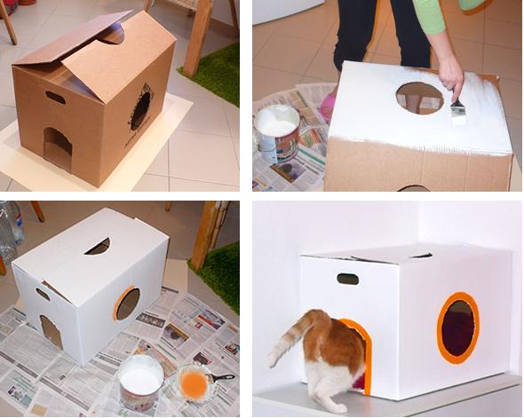Como hacer cama casita gimnasios para gato construir - Casas para gatos de madera ...